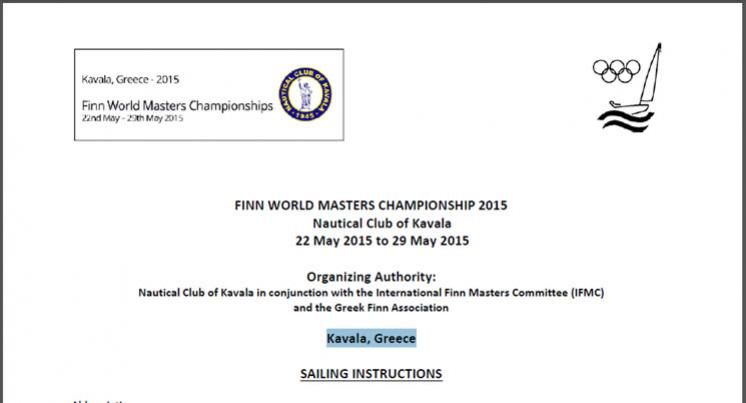 SAILING INSTRUCTIONS - Finn World Masters Championship 2015